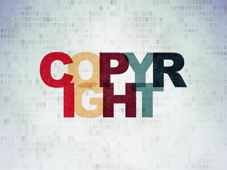 data protection act: Law concept: Painted multicolor text Copyright on Digital Paper background Stock Photo
