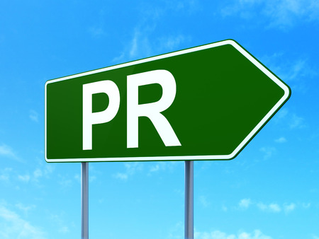 pr: Advertising concept: PR on green road highway sign, clear blue sky background, 3d render