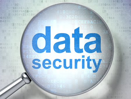 data: Privacy concept: magnifying optical glass with words Data Security on digital background