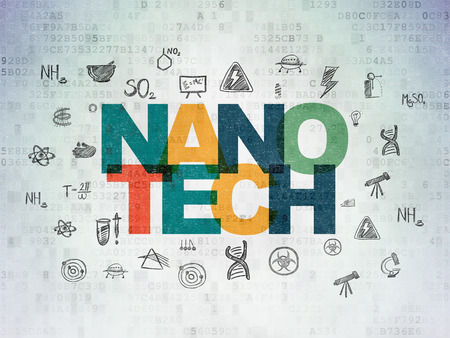 nanotech: Science concept: Painted multicolor text Nanotech on Digital Paper background with  Hand Drawn Science Icons