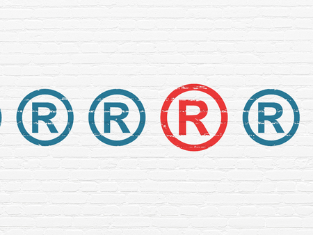 r regulation: Law concept: row of Painted blue registered icons around red registered icon on White Brick wall background