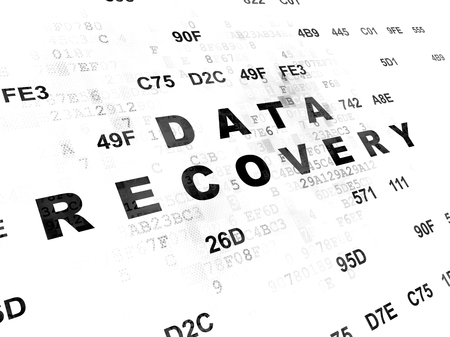 data recovery: Information concept: Pixelated black text Data Recovery on Digital wall background with Hexadecimal Code
