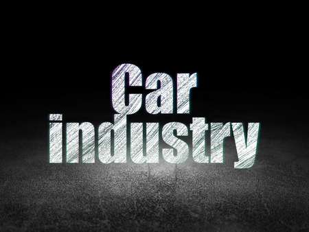 dirty room: Manufacuring concept: Glowing text Car Industry in grunge dark room with Dirty Floor, black background