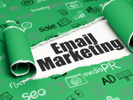 Marketing concept: black text Email Marketing under the curled piece of Green torn paper with  Hand Drawn Marketing Icons
