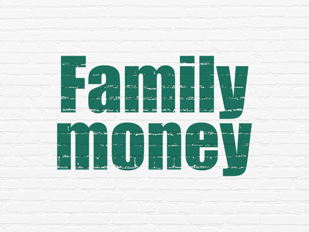 pay wall: Banking concept: Painted green text Family Money on White Brick wall background Stock Photo