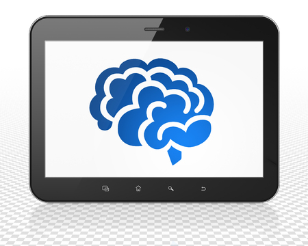 blue brain: Medicine concept: Tablet Pc Computer with blue Brain icon on display Stock Photo