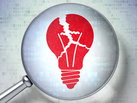 broken strategy: Business concept: magnifying optical glass with Light Bulb icon on digital background