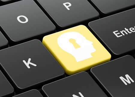computer education: Education concept: computer keyboard with Head With Keyhole icon on enter button background, 3d render Stock Photo