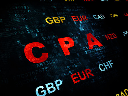 cpa: Business concept: Pixelated red text CPA on Digital wall background with Currency