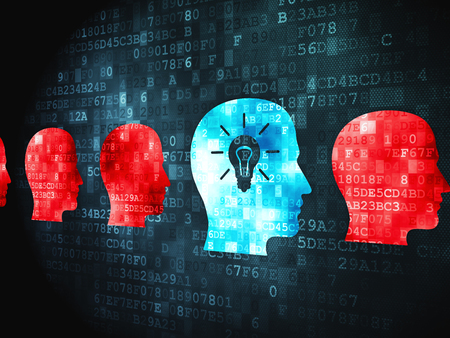 blue brain: Business concept: pixelated Head With Lightbulb icon on digital background