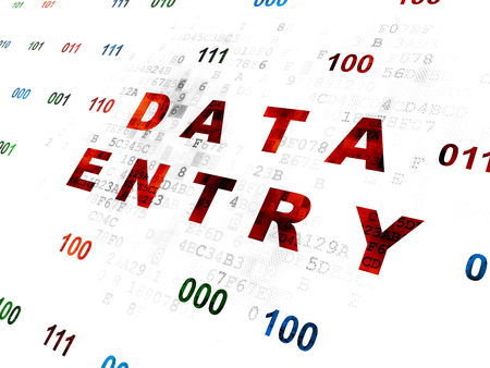 data entry: Information concept: Pixelated red text Data Entry on Digital wall background with Binary Code Stock Photo