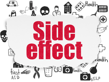 side effect: Health concept: Painted red text Side Effect on Torn Paper background with  Hand Drawn Medicine Icons