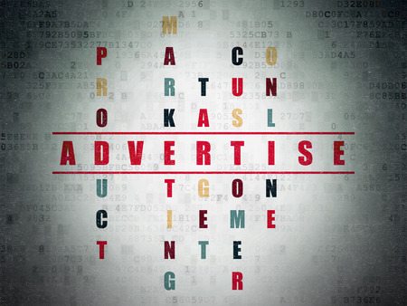 advertise: Marketing concept: Painted red word Advertise in solving Crossword Puzzle on Digital Paper background