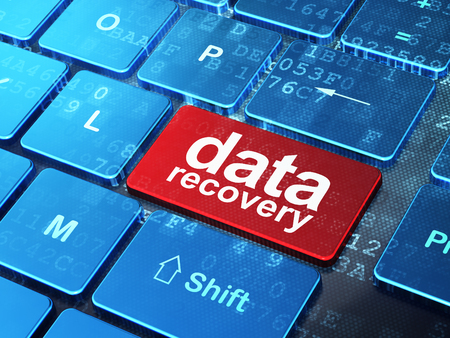 data recovery: Information concept: computer keyboard with word Data Recovery on enter button background, 3d render Stock Photo