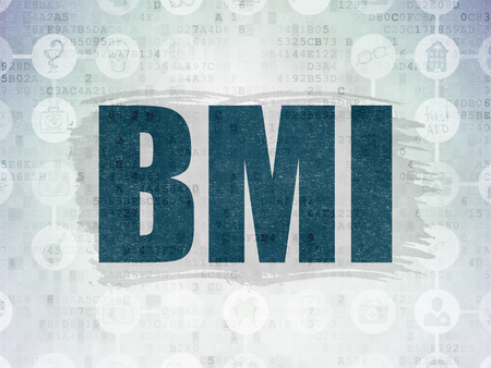 bmi: Medicine concept: Painted blue text BMI on Digital Paper background with  Scheme Of Hand Drawn Medicine Icons