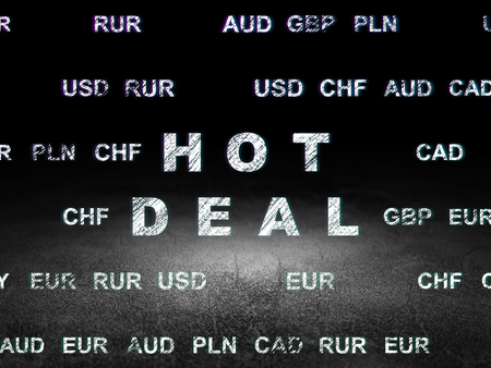 deal in: Business concept: Glowing text Hot Deal in grunge dark room with Dirty Floor, black background with Currency