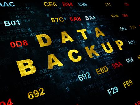hexadecimal: Information concept: Pixelated yellow text Data Backup on Digital wall background with Hexadecimal Code
