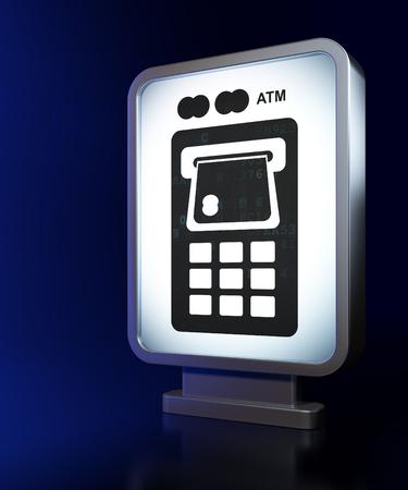 cash machine: Banking concept: ATM Machine on advertising billboard background, 3d render
