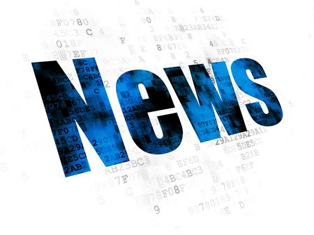 ニュース概念: デジタル背景にドット絵の青いテキスト ニュース