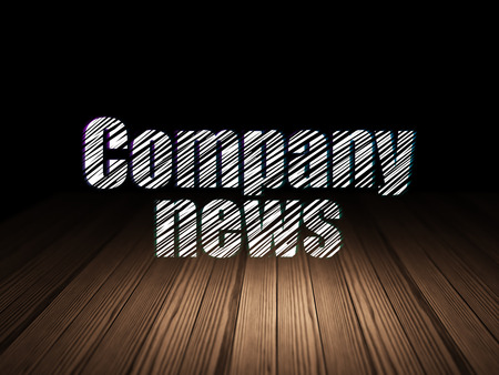 news room: News concept: Glowing text Company News in grunge dark room with Wooden Floor, black background