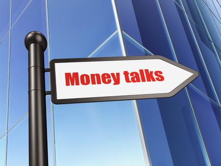 conversaciones: Concepto de las finanzas: Muestra de dinero habla en el fondo del edificio, 3d