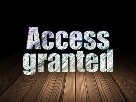 room access: Privacy concept: Glowing text Access Granted in grunge dark room with Wooden Floor, black background