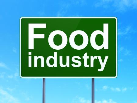 food industry: Industry concept: Food Industry on green road highway sign, clear blue sky background, 3d render