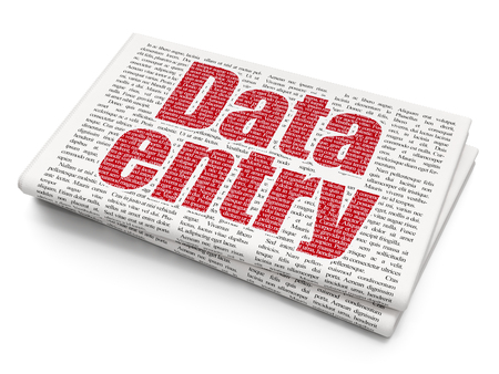 data entry: Information concept: Pixelated red text Data Entry on Newspaper background