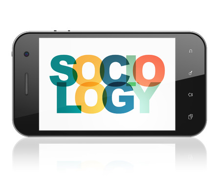 sociologia: El estudio de concepto: Smartphone con Pintadas Sociolog�a texto multicolor en exhibici�n