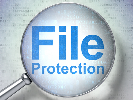 passkey: Protection concept: magnifying optical glass with words File Protection on digital background