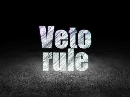 veto: Political concept: Glowing text Veto Rule in grunge dark room with Dirty Floor, black background Stock Photo
