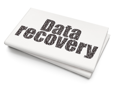 data recovery: Information concept: Pixelated black text Data Recovery on Blank Newspaper background Stock Photo