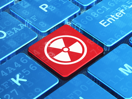 caution chemistry: Science concept: computer keyboard with Radiation icon on enter button background, 3d render Stock Photo