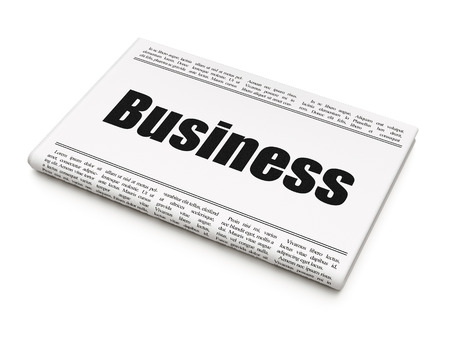 newspaper headline: Business concept: newspaper headline Business on White background, 3d render