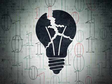 broken strategy: Finance concept: Painted black Light Bulb icon on Digital Paper background with  Binary Code Stock Photo