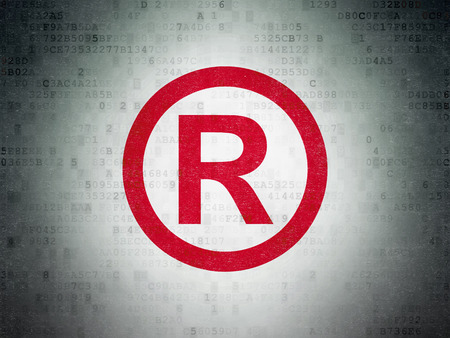 data protection act: Law concept: Painted red Registered icon on Digital Paper background