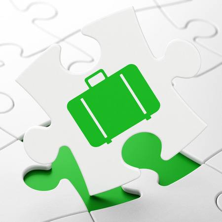 piece of luggage: Travel concept: Bag on White puzzle pieces background, 3d render Stock Photo