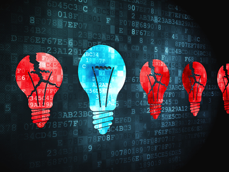 broken strategy: Business concept: pixelated Lightbulb icon on digital background