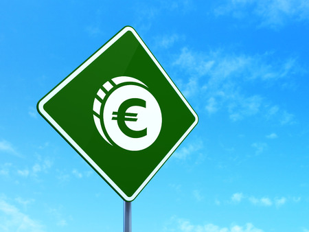 way bill: Banking concept: Euro Coin on green road highway sign, clear blue sky background, 3d render
