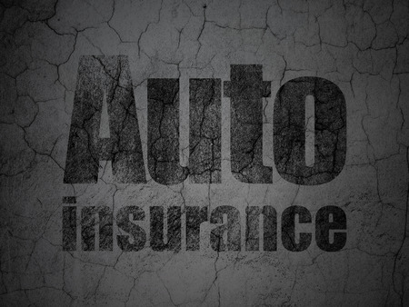 auto insurance: Insurance concept: Black Auto Insurance on grunge textured concrete wall background Stock Photo