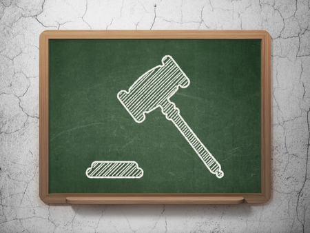 criminal act: Law concept: Gavel icon on Green chalkboard on grunge wall background