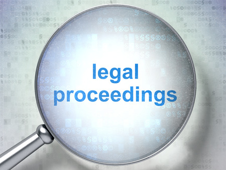proceedings: Law concept: magnifying optical glass with words Legal Proceedings on digital background Stock Photo