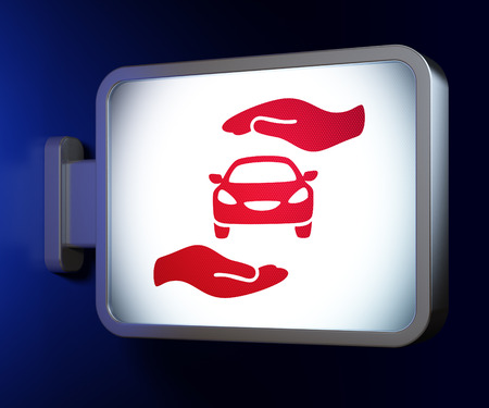 car bills: Insurance concept: Car And Palm on advertising billboard background, 3d render Stock Photo