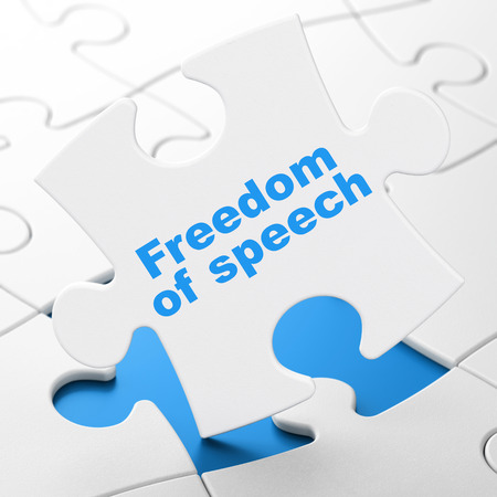 brainteaser: Politics concept: Freedom Of Speech on White puzzle pieces background, 3d render