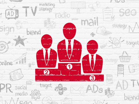 best ad: Marketing concept: Painted red Business Team icon on White Brick wall background with  Hand Drawn Marketing Icons Stock Photo