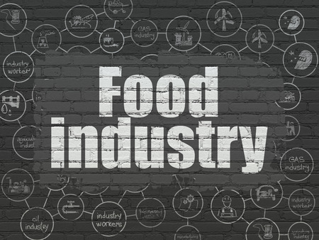 food industry: Industry concept: Painted white text Food Industry on Black Brick wall background with Scheme Of Hand Drawn Industry Icons Stock Photo