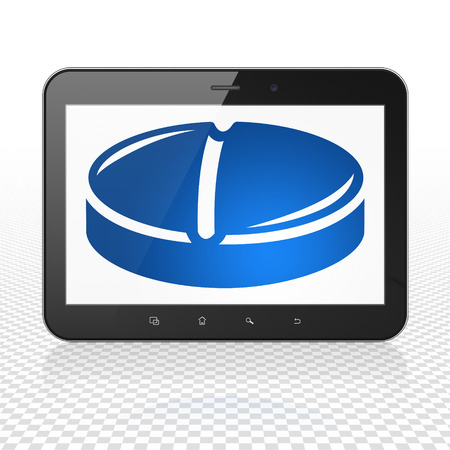 healing touch: Health concept: Tablet Computer with  blue Pill icon on display,  Tag Cloud background Stock Photo