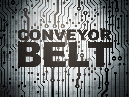 belt: Industry concept: circuit board with  word Conveyor Belt, 3d render