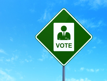 agitation: Political concept: Ballot on green road highway sign, clear blue sky background, 3d render
