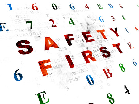 safety first: Protection concept: Pixelated red text Safety First on Digital wall background with Hexadecimal Code Stock Photo
